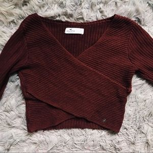 CROPPED WRAP SWEATER